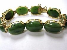 14k JADE MULTI-STONE BRACELET WITH SAFETY CHAIN