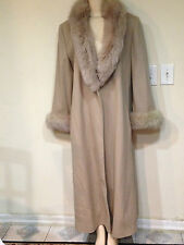 Charies Klein Women's Winter dress Wool Fox Fur long coat jacket size18 fitsXL1X