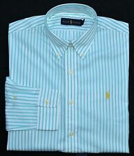New Large L POLO RALPH LAUREN Mens button up down dress shirt blue stripes 16.5