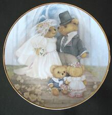 JUST MARRIED by Patricia Brooks TEDDY BEAR The Franklin Mint 24K GOLD border NEW