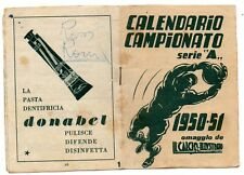 CALENDARIETTO CAMPIONATO CALCIO 1950 51 CALCIO ILLUSTRATO DENTIFRICIO DONABEL