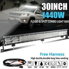 30'' Inch 1440W CREE LED Light Bar Spot Flood Offroad Truck Car ATV Quad Row 32