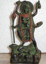 Hindu Goddess Kali Bhairavi Puja Statue Figure Handfinished Antique Green #BW750