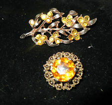 2 very lovely vintage goldtone amber  rhinestone brooches