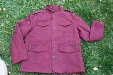 Black Label Men Burgundy Studded Punk Blazer Jacket Sz Large EUC Spine detail c4