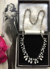 Vintage Art Deco Marquise Cut Open Back Diamond Paste Necklace Bridal Party Gift