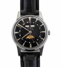 Amazing Vintage 1960's Zodiac Moonphase Triple Calendar Automatic Watch Hacking