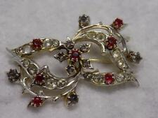 Silver Tone Flower And Leaf Brooch With Lots Of Prong Set Rhinestones