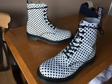 Dr Martens 1460 pascal black dot flock boots UK 8 EU 42 white