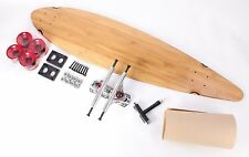 """40"""" Bamboo Pintail Blank Clear Red wheels Complete Longboard Kit"""