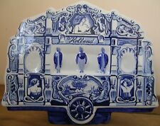 RARE DUTCH BLUE & WHITE DELFT CERAMIC HAND PAINTED MUSIC BOX, OLD CIRCUS WAGON