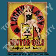 LUCKY LADY MOTOR OILS PIN UP GIRL DECAL STICKER RAT ROD MANCAVE TOOLBOX STICKERS