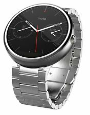OEM Motorola Moto 360 Android Smartwatch w/ 23mm Metal Band - Natural Silve