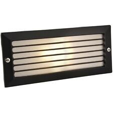 Modern Outdoor Garden Recessed Wall Brick Light Black & Frosted Glass IP44