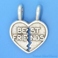 """BEST FRIENDS"" 2-Piece HEART TO SHARE .925 Sterling Silver Charm Pendant"