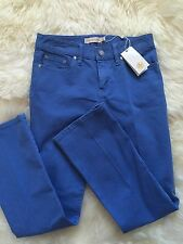NEW TORY BURCH WOMANS $200 BLUE DENIM SKINY LONG STYLE JEANS PANTS FLATS Size 24