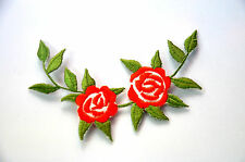 RED ROSES STEM  FLOWERS  APPLIQUE Embroidered Sew Iron On Cloth Patch Badge