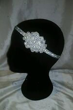 Great Gatsby 1920s Sparkly Silver Festival Diamante Elastic Hair Head Band