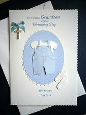 Personalised On your CHRISTENING Day Handmade Card for Grandson, Son, Nephew etc