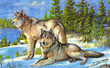 Wolf couple enjoying a sunny day in the snowy landscape,  watercolors