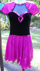 Star Styled Jazzy Chorus Girl Dance Costume in Hot Pink & Black w/Panties S-M