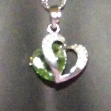 New 925 Sterling Silver Emerald Crystal Heart Pendant Charm Twist Link Chain