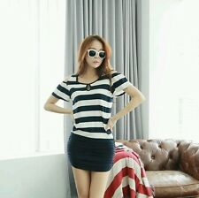 NEW KOREAN FASHION STRIPE CUT OUT RUCHED TIGHT BOTTOM DRESS (NAVY BLUE)