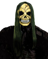 HALLOWEEN MASK ZOMBIE REAPER SKULL WIZARD WITH LONG POISON GREEN HAIR ADULT NEW