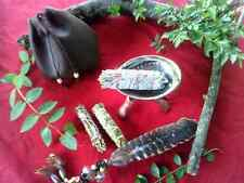 White Sage Smudge Cedar Lavender Large Kit Abalone Shell Carry/Storage Bag Wicca