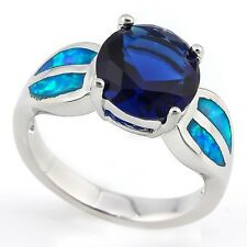 Sapphire & Created Blue Fire Opal Ring, German Silver Size 8