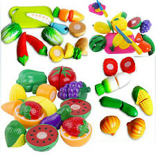 New Play Food Kid Children Plastic Vegetable Fruit Toy Role Kitchen Cutting Set