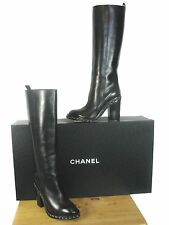 CHANEL  Black Leather Knee High Chain Trim Chunky Heel Boots  sz 37 $2075