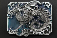 RECTANGULAR BLUE CHINESE DRAGON BELT BUCKLE METAL CALENDAR TRADITIONAL FANTASY