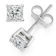 0.5 ct Princess Cut Solitaire Stud Earrings Solid 14k Real White Gold Screw Back