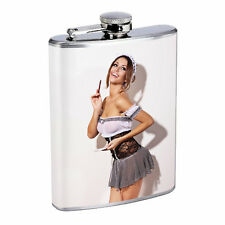 Waitress Pin Up Girls D1 Flask 8oz Stainless Steel Hip Drinking Whiskey Costume
