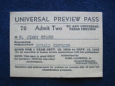 ORIGINAL 1934-35 UNIVERSAL STUDIO  PREVIEW PASS Hollywood Columnist JIMMY STARR