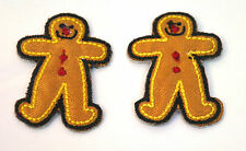 2X GINGERBREAD MEN SMALL  Embroidered Iron Sew On Cloth Patch Badge APPLIQUE