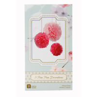 3 Tissue Paper Pom Pom Party Hanging Wedding Decoration in Mixed Pink Colours