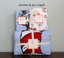Pottery Barn Kids DR. SEUSS CAT IN THE HAT Full/Queen F/Q Quilt+Sham+Sheet Set
