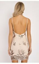 Sexy rose gold sequin backless strappy bodycon mini evening party dress nude UK8
