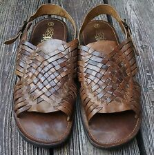 Vintage HUSH PUPPIES Brown Leather Huarache Sandals Men's Size 12M