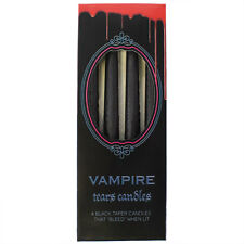 NEW 4 BLACK TAPER CANDLE DRIP CANDLES DRIPPING COLOURED BLOOD RED WAX CA_03035
