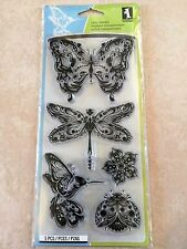 Inkadinkado Clear Acrylic Stamps Mindscapes Butterfly Dragonfly 99121 NEW