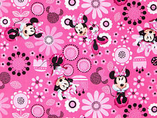 DISNEY MINNIE MOUSE ALLOVER FLOWERS  SPRING CREATIVE  100% COTTON FABRIC YARDAGE
