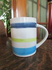 STARBUCK 2008 BLUE AND GREEN STRIPED COFFEE MUG CUP 14 OZ