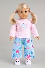 Pinky Pie - Pajamas for 18 inch American Girl Doll, Caprice Pink Bunny Slippers
