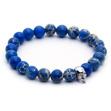 Charm Men's White Gold Plated Skull Sea Sediment Jasper Elastic Beaded Bracelet