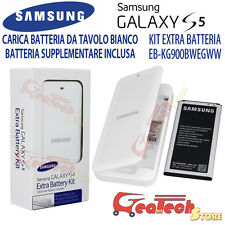 Kit Extra Battery ORIGINALE Per Samsung Galaxy S5 G900 Dock + Batteria 2800mah