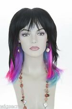 Mid Length, Layered, Straight Shag Cut With Bangs Fun Color Costume Wigs