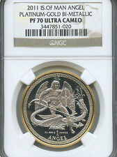 2011 Isle of Man Angel Platinum & Gold Bi-Metallic Coin W/NGC PF70 Ultra Cameo